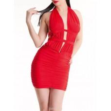 770к) Платье красное, трикотажное.