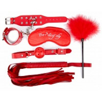 630ш) Б/КОМПЛЕКТ (наручники, маска, кляп, плеть, щекоталка с пухом) цвет красный