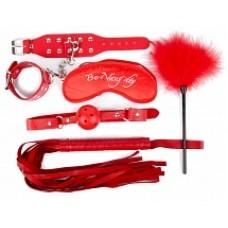 657к)Б/КОМПЛЕКТ (наручники, маска, кляп, плеть, щекоталка с пухом) цвет красный