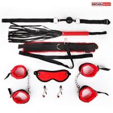 665к) Набор для бдсм( кляп, наручники, оковы, маска, ошейник с поводком, плеть, зажимы)