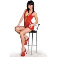 452ш) Е/Платье красное, лаке.