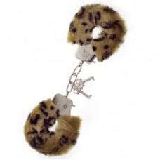 696кш) Наручники металл. с меховой коричнево-леопардовой оплеткой.