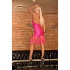 433ш) CL085-Клубное ярко-розовое платье