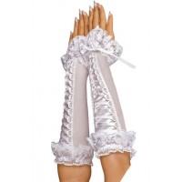 618к) Перчатки белые со шнуровкой.