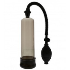 214кш) Помпа для пениса черная с грушей, вакуумная, АБС пластик.