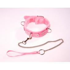 636ш)  ОШЕЙНИК розовый с меховой подкладкой, с металлической цепочкой-поводком с карабином