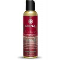 """Вкусовое массажное масло с феромонами и ароматом """"Клубничное суфле"""" DONA Kissable Massage Oil Strawb"""